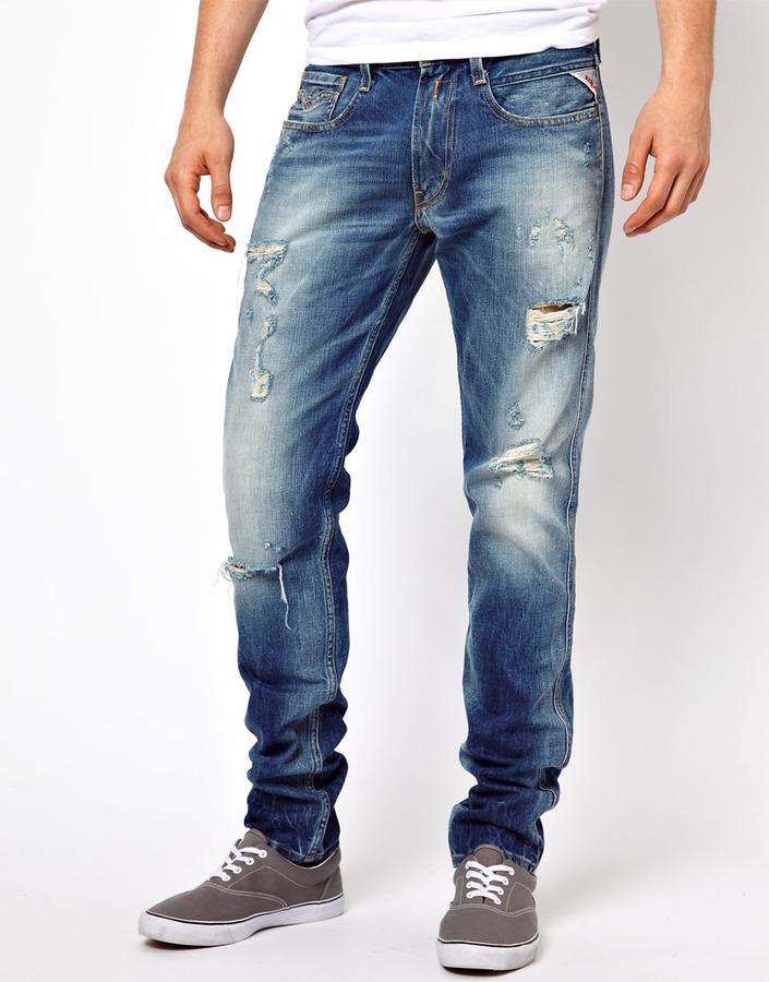 Рваные мужские джинсы фото