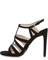 Черные замшевые босоножки на каблуке от Prada