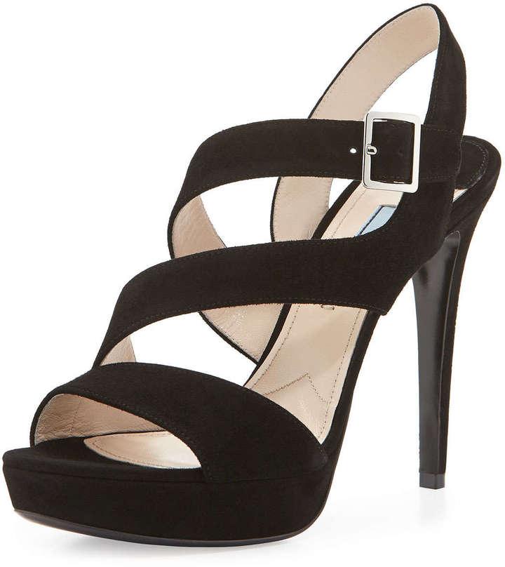 Черные замшевые босоножки на каблуке от Prada. Да! Saks Fifth Avenue доставит этот товар бесплатно