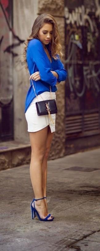 Zhenskaya-odezhda-ukraina:синяя мини-юбка из стрейтчевой ткани - модная женская одежда из интернет-магазина блузки