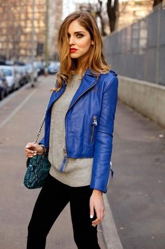 Что носить с синей курткой