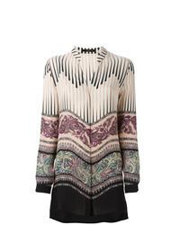Бежевая блуза на пуговицах с принтом