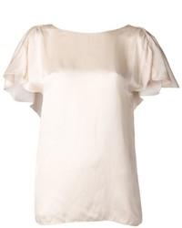 бежевая блуза с коротким рукавом original 1293189