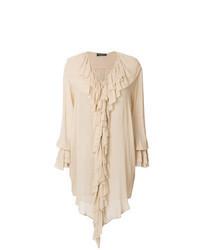 Бежевая блузка с длинным рукавом с рюшами