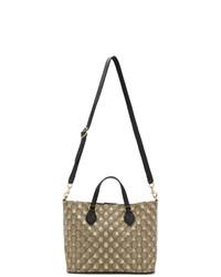 Бежевая большая сумка из плотной ткани с принтом от Gucci