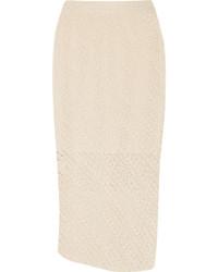 Бежевая вязаная юбка-карандаш