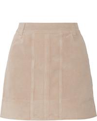 Бежевая замшевая мини-юбка