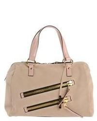 Бежевая замшевая сумка-саквояж