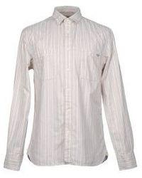 Бежевая классическая рубашка в вертикальную полоску