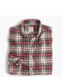 Бежевая классическая рубашка в шотландскую клетку