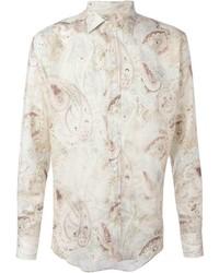 Мужская бежевая классическая рубашка с принтом от Etro