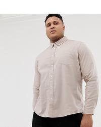 Мужская бежевая классическая рубашка от ASOS DESIGN