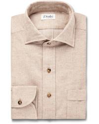 Мужская бежевая классическая рубашка от Drakes