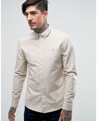 Мужская бежевая классическая рубашка от Farah