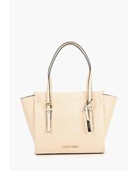 Бежевая кожаная большая сумка от Calvin Klein