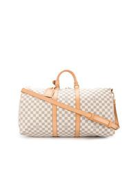 Женская бежевая кожаная спортивная сумка от Louis Vuitton Vintage