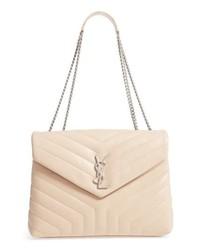 Бежевая кожаная стеганая сумка-саквояж