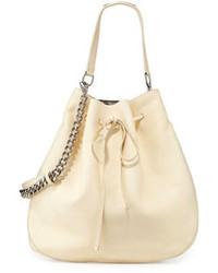 Бежевая кожаная сумка-мешок
