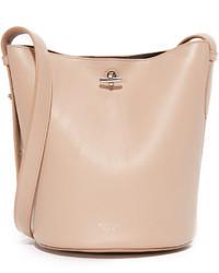 Женская бежевая кожаная сумка-мешок от Rochas