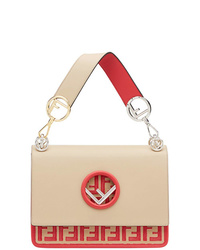 Бежевая кожаная сумка-саквояж с принтом от Fendi