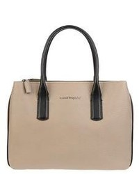 Женская бежевая кожаная сумка-саквояж от Carlo Pazolini