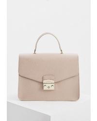 Бежевая кожаная сумка-саквояж от Furla