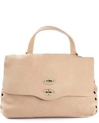 Женская бежевая кожаная сумка-саквояж от Zanellato