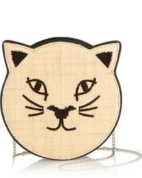 Бежевая кожаная сумка через плечо с вышивкой