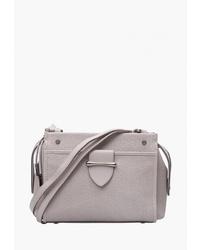 Бежевая кожаная сумка через плечо от Eleganzza