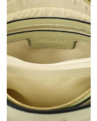 Бежевая кожаная сумка через плечо от Vitacci