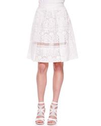 Бежевая кружевная короткая юбка-солнце