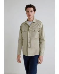 Мужская бежевая куртка-рубашка от Mango Man