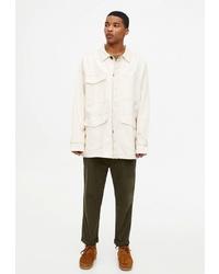 Мужская бежевая куртка-рубашка от Pull&Bear