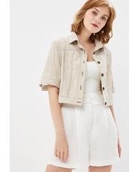 Женская бежевая куртка-рубашка от Tantino