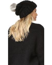 Женская бежевая меховая вязаная шапка от Rebecca Minkoff