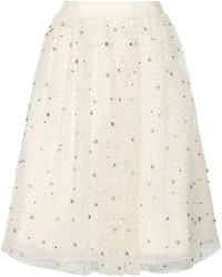 Бежевая пышная юбка из фатина