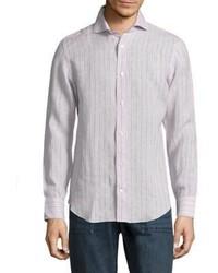 Бежевая рубашка с длинным рукавом в вертикальную полоску