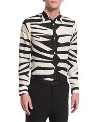Бежевая рубашка с длинным рукавом с леопардовым принтом