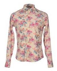 Бежевая рубашка с длинным рукавом с цветочным принтом