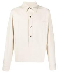 Мужская бежевая рубашка с длинным рукавом от Bottega Veneta