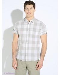 Мужская бежевая рубашка с коротким рукавом от Oodji