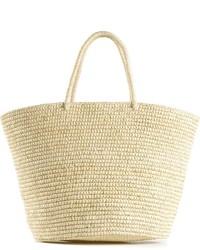 Бежевая соломенная большая сумка