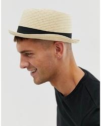Мужская бежевая соломенная шляпа от ASOS DESIGN