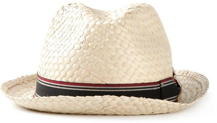 Мужская бежевая соломенная шляпа от Giorgio Armani