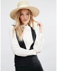 Женская бежевая соломенная шляпа от Mango