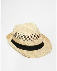 Мужская бежевая соломенная шляпа от Selected