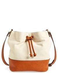 Бежевая сумка-мешок из плотной ткани