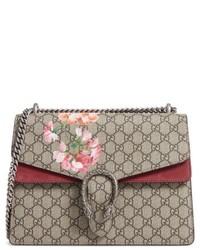 Бежевая сумка-саквояж из плотной ткани с принтом