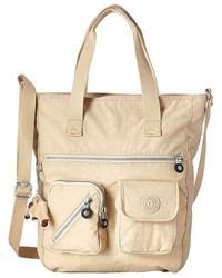 Бежевая сумка через плечо из плотной ткани