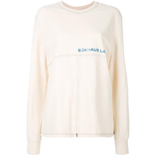 Женская бежевая футболка с длинным рукавом от Eckhaus Latta